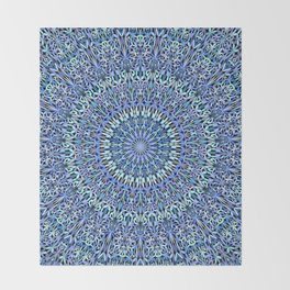 Blue Garden of Life Mandala Throw Blanket