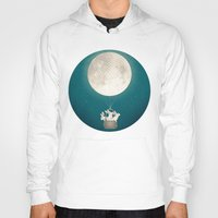 bunnies Hoodies featuring moon bunnies by Laura Graves