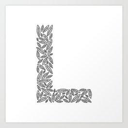 Floral Alphabet // The Letter L Art Print