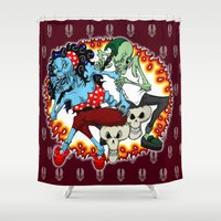 zombies Shower Curtains featuring tattooing zombies by Andrew Mark Hunter