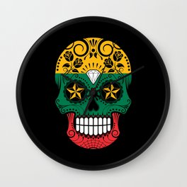 Sugar Skull with Roses and Flag of Lithuania Wall Clock