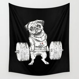 Pug Lift in Black Wall Tapestry