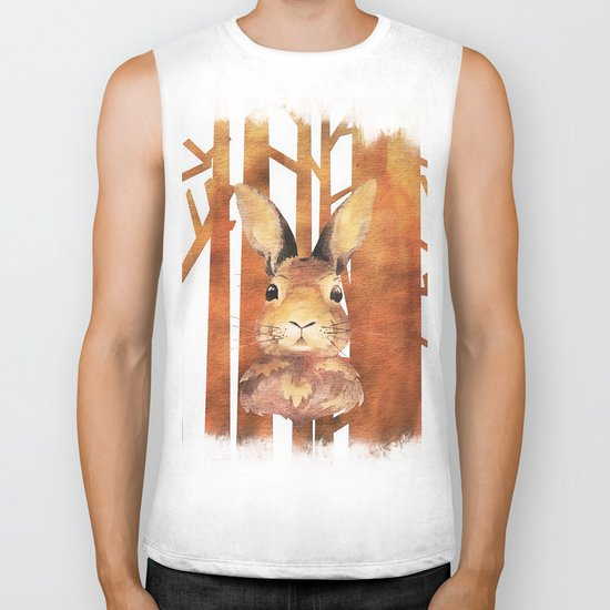 Fast Rabbit in the forest- abstract Hare watercolor Illustration Biker Tank