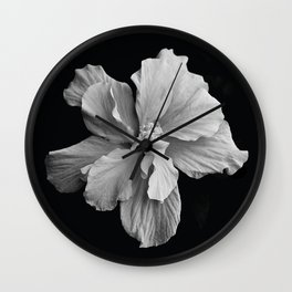 Hibiscus Drama Study - Black & White High Impact Photography Wall Clock