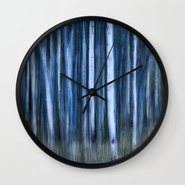 The Night's Forest - Ghostly Blue and White Trees Wall Clock