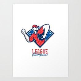League Champions Baseball Retro Art Print