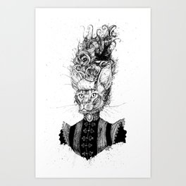 High-Class Victorian Cat (B&W) Art Print