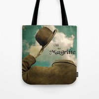 magritte Tote Bags featuring Ode to Magritte by Jill Battaglia