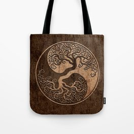 Rough Wood Grain Effect Tree of Life Yin Yang Tote Bag