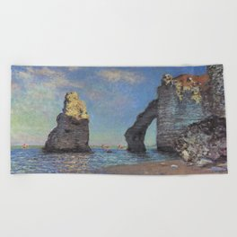 Claude Monet's The Cliffs at Etretat Beach Towel