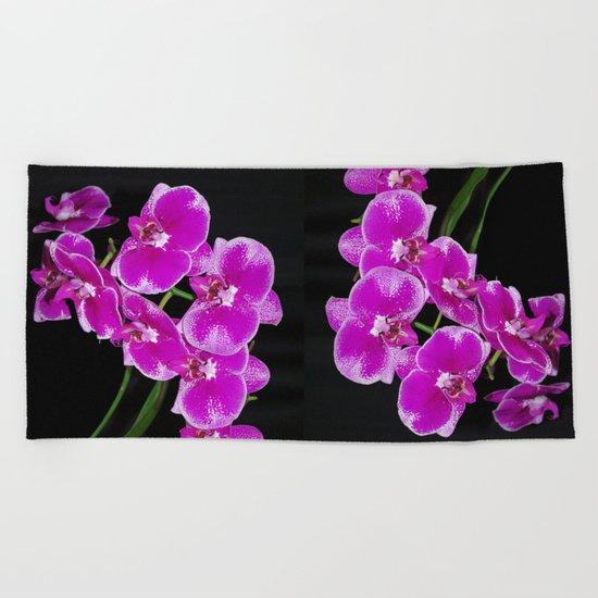 Graceful spray of deep pink orchids Beach Towel