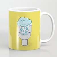 bathroom Mugs featuring Bathroom Break by Ava Guerrero