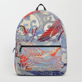 Waves and Cranes Chinoiserie Inspired Wall Art   Japanese Katagami Stencil Design in Red, Blue, Gray Backpack