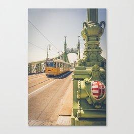 Tram on the the bridge of Liberty Budapest Hungary Szabadság híd Canvas Print