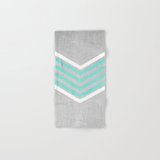 Teal and White Chevron on Silver Grey Wood Hand & Bath Towel