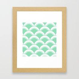 Japanese Fan Pattern Mint Green Framed Art Print