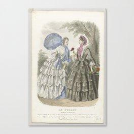 Le Follet, 1854, No. 1887  Chapeau Mme Naudé..., Laurent François Guerdet, A. Leroy, 1854 Canvas Print