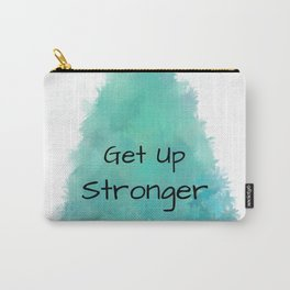 Get Up Stronger (black on blue-green and white) Carry-All Pouch