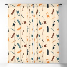 Vintage Vaccines - Large on Cream Blackout Curtain