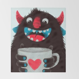 Demon with a cup of coffee (contrast) Throw Blanket