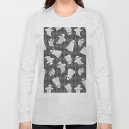 Black and White Hand Painted Kawaii Ghost Pattern Long Sleeve T-shirt