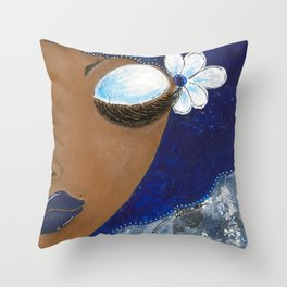 Sassy Girl Royal Blue and White Throw Pillow
