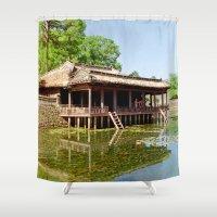 tomb raider Shower Curtains featuring Xung Khiem Pavilion, Tu Duc Tomb, Hue, Vietnam by Ciaran Mcg