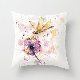 Dragonfly & Dandelion Dance Throw Pillow