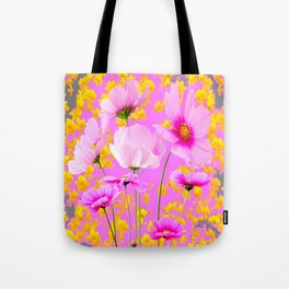 YELLOW COSMO FLOWERS  PURPLE ART  PATTERNS Tote Bag