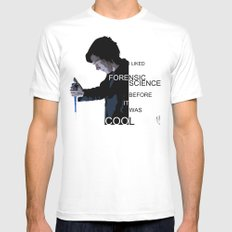 I liked Forensic Science before it was Cool White MEDIUM Mens Fitted Tee