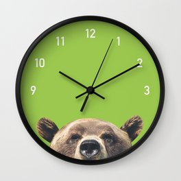 Bear Numbers Clock Green Wall Clock