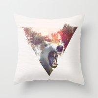 moon Throw Pillows featuring daylight moon by Robert Farkas