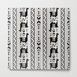 Llamas_Gray & Black Metal Print