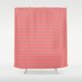 Thin Berry Red and White Rustic Horizontal Sailor Stripes Shower Curtain