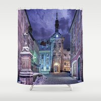 gotham Shower Curtains featuring Gotham by Robin Curtiss