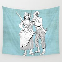 pirates Wall Tapestries featuring Pirates by Tom Tierney Studios