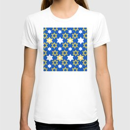 Hanukkah Gold & White Star Of David Blue Pattern T-shirt