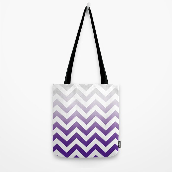 PURPLE FADE TO GREY CHEVRON Tote Bag