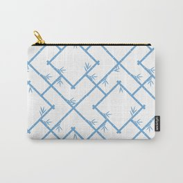 Bamboo Chinoiserie Lattice in White + Light Blue Carry-All Pouch