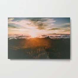 Cloudy sunset over the mountains Metal Print