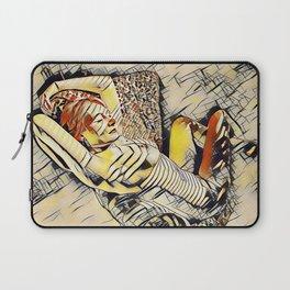 4248s-JG Beautiful Jessica Striped Nude Erotica in the Style of Kandinsky Laptop Sleeve