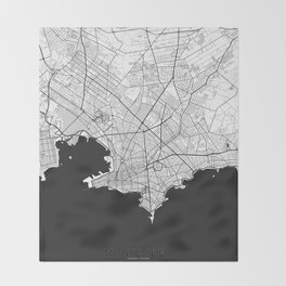 Montevideo Map Gray Throw Blanket