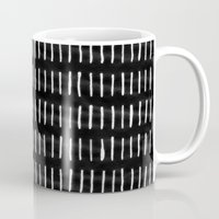 woodstock Mugs featuring White on Black Woodstock Pattern by LacyDermy