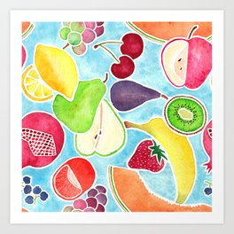 Fruit Salad in Watercolors on Bright Blue Background Art Print