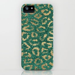 Forest green gold foil trendy animal print glitter iPhone Case