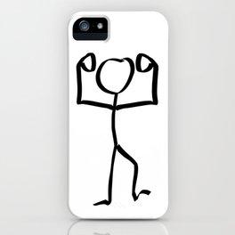 Stickman Figure Winner Illustration, One Line Drawing Figure, Success Symbol,  iPhone Case