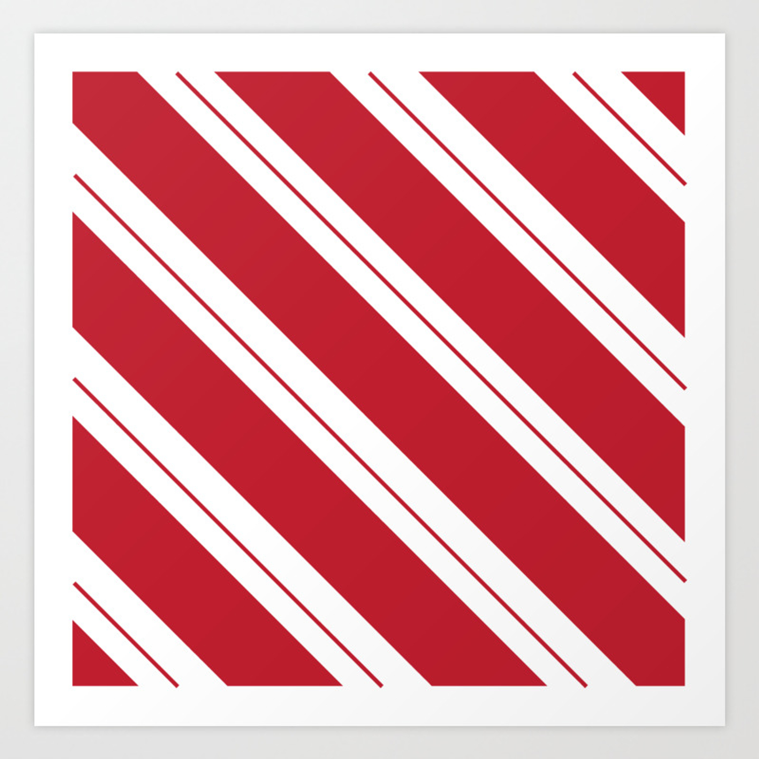 Tilted Classic Red Candy Cane Art Print By Bndesigns And Photography Society6