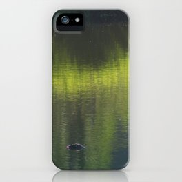 turtle swimming away at Trojan pond, near Goble, Oregon iPhone Case