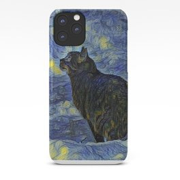 Indigo martian cat in Vincent Van Gogh impressionist painting style. iPhone Case
