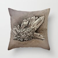 crystals Throw Pillows featuring Crystals by Werk of Art